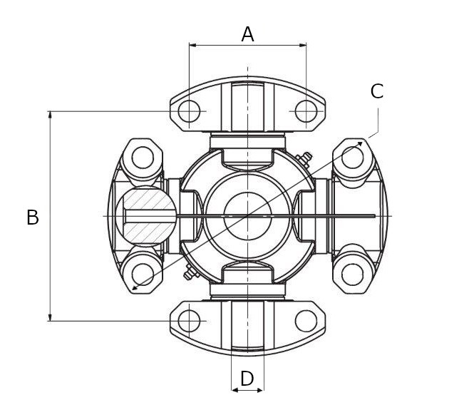 Universal joints , high wing drilled , low wing drilled